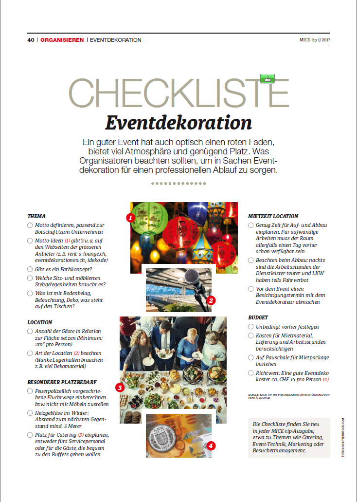 Checkliste Eventdekoration