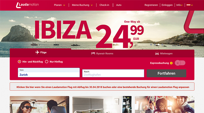 Laudamotion Website